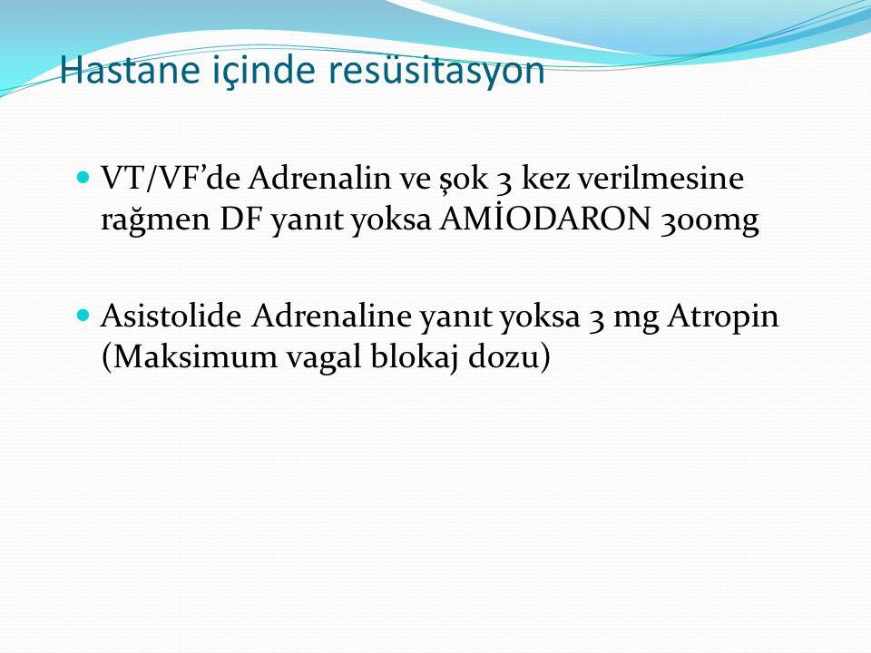 Hastane içinde resüsitasyon  VT/VF'de Adrenalin ve şok 3 kez verilmesine rağmen DF yanıt yoksa AMİODARON 300mg  Asistolide Adrenaline yanıt yoksa 3 mg Atropin (Maksimum vagal blokaj dozu)