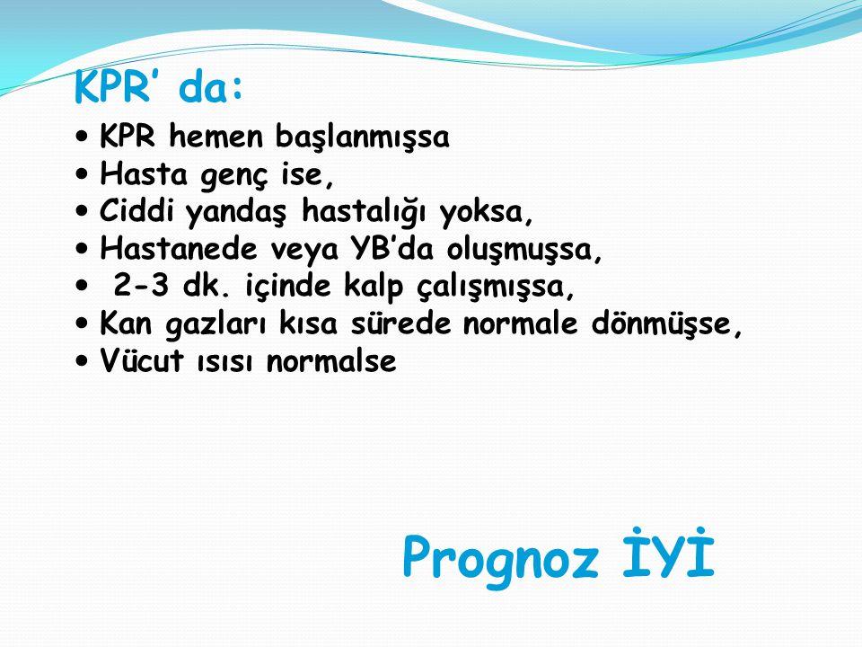 Prognoz İYİ KPR' da:  KPR hemen başlanmışsa  Hasta genç ise,  Ciddi yandaş hastalığı yoksa,  Hastanede veya YB'da oluşmuşsa,  2-3 dk.