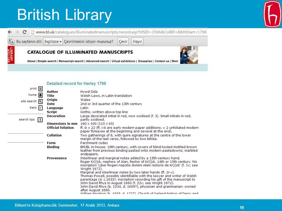 10 British Library Bilkent'te Kütüphanecilik Seminerleri, 17 Aralık 2013, Ankara
