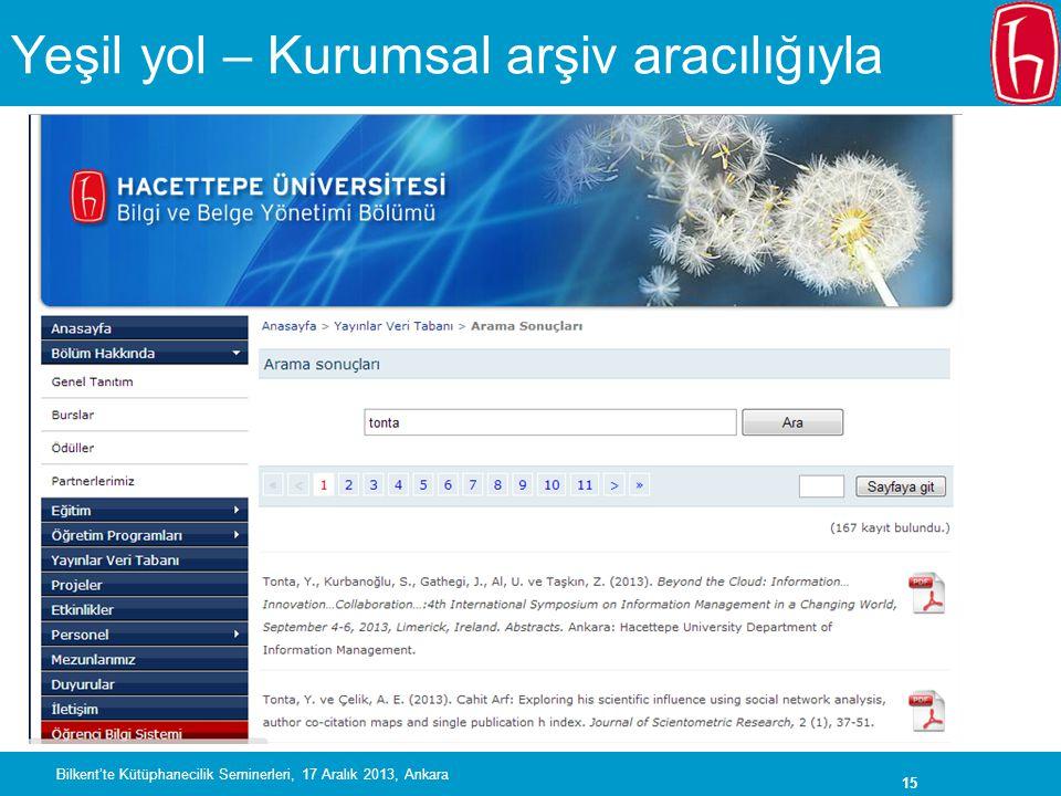 15 Yeşil yol – Kurumsal arşiv aracılığıyla Bilkent'te Kütüphanecilik Seminerleri, 17 Aralık 2013, Ankara