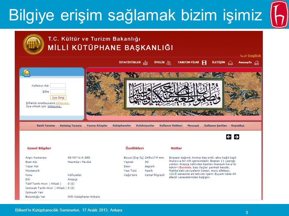 44 Ufuk 2020 ve Avrupa Araştırma Alanı •AB destekli araştırma projelerinin çıktılarına (raporlar, makaleler, vs.) •Hem yeşil hem de altın yol destekleniyor •Araştırma verilerine açık erişim pilot projesi yürütülecek • Açık Bilim (bulguların doğrulanması vs.) için araştırma verilerine erişim şart Bilkent'te Kütüphanecilik Seminerleri, 17 Aralık 2013, Ankara
