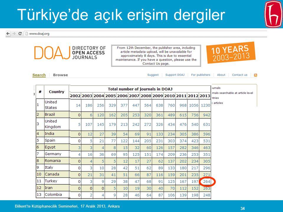 34 Türkiye'de açık erişim dergiler Bilkent'te Kütüphanecilik Seminerleri, 17 Aralık 2013, Ankara