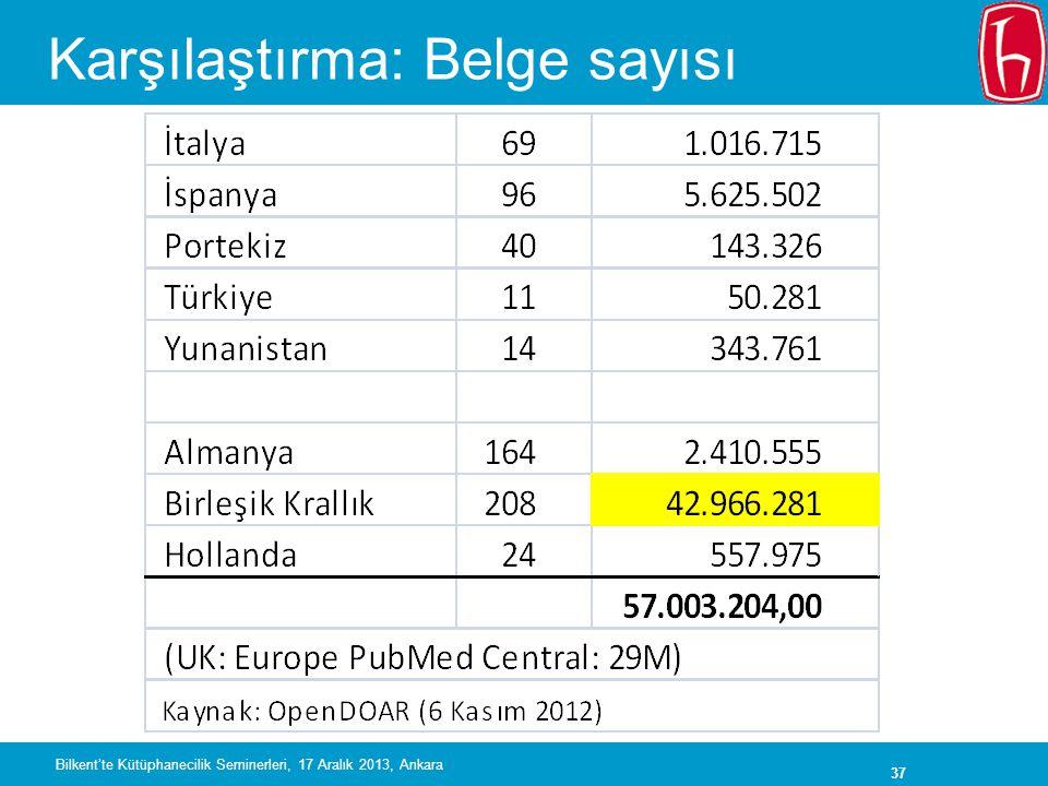 37 Karşılaştırma: Belge sayısı Bilkent'te Kütüphanecilik Seminerleri, 17 Aralık 2013, Ankara