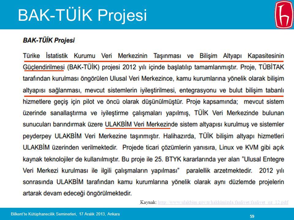 59 BAK-TÜİK Projesi Kaynak: http://www.ulakbim.gov.tr/hakkimizda/faaliyet/faaliyet_oz_12.pdfhttp://www.ulakbim.gov.tr/hakkimizda/faaliyet/faaliyet_oz_12.pdf Bilkent'te Kütüphanecilik Seminerleri, 17 Aralık 2013, Ankara
