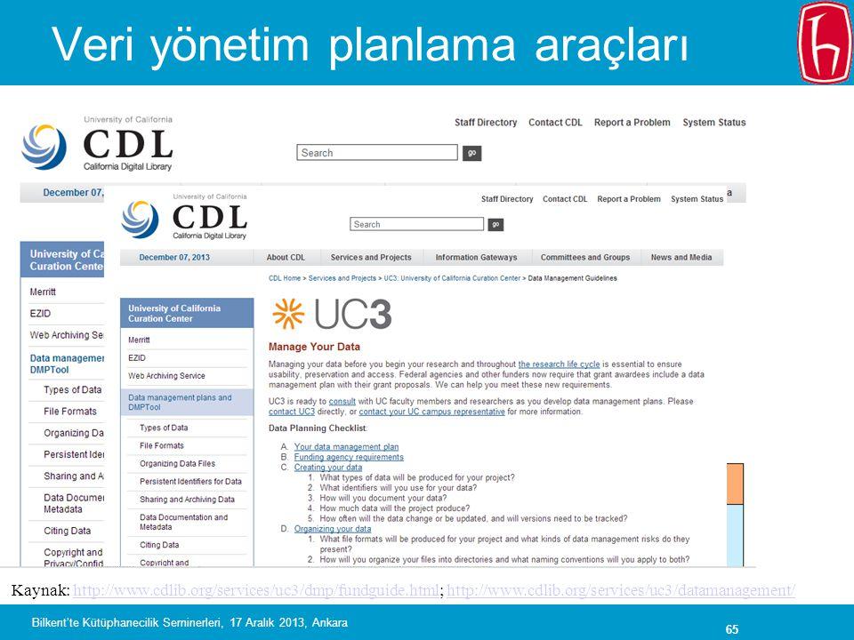 65 Veri yönetim planlama araçları Kaynak: http://www.cdlib.org/services/uc3/dmp/fundguide.html; http://www.cdlib.org/services/uc3/datamanagement/http://www.cdlib.org/services/uc3/dmp/fundguide.htmlhttp://www.cdlib.org/services/uc3/datamanagement/ Bilkent'te Kütüphanecilik Seminerleri, 17 Aralık 2013, Ankara