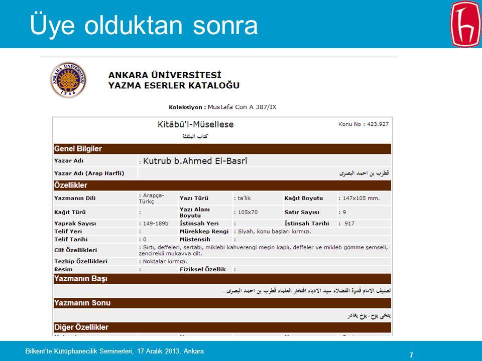 28 Bilkent'te Kütüphanecilik Seminerleri, 17 Aralık 2013, Ankara