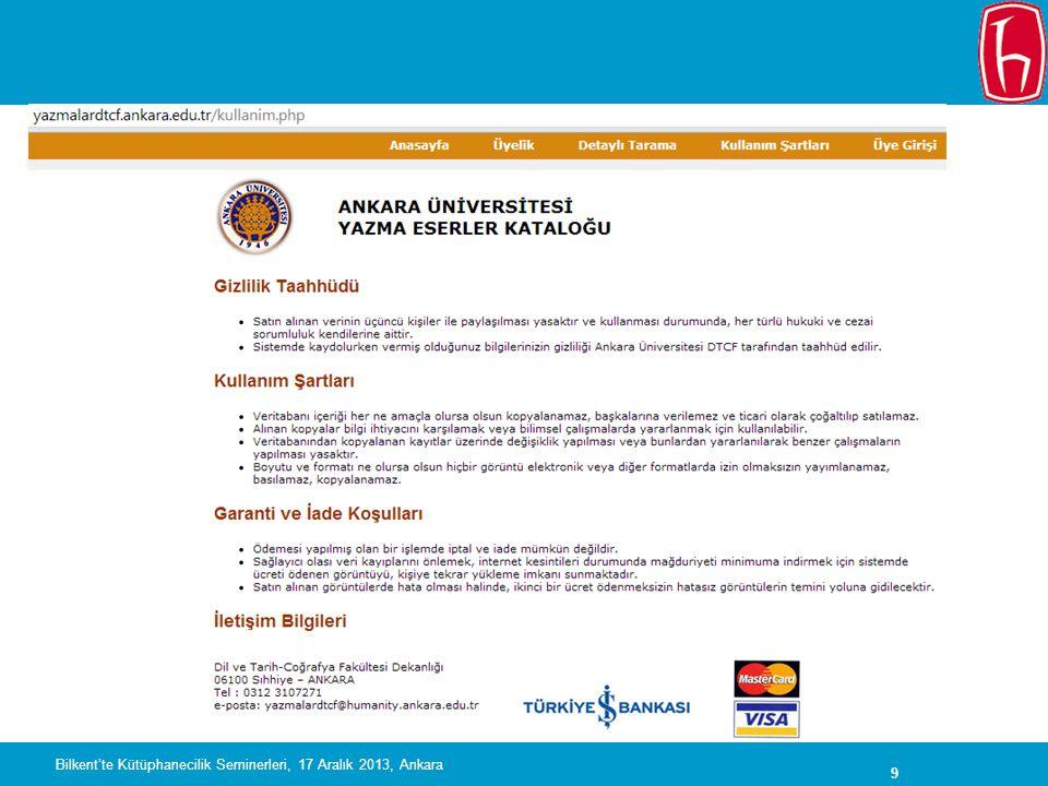 30 NDLTD Bilkent'te Kütüphanecilik Seminerleri, 17 Aralık 2013, Ankara