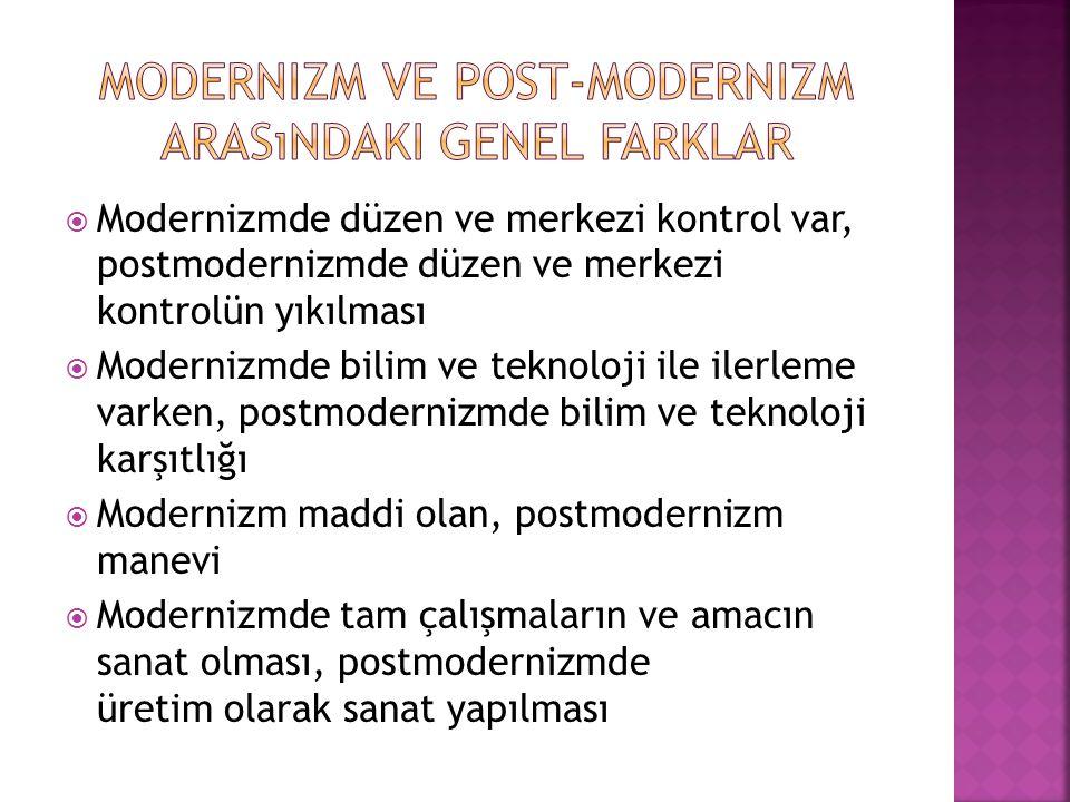  Modernizmde düzen ve merkezi kontrol var, postmodernizmde düzen ve merkezi kontrolün yıkılması  Modernizmde bilim ve teknoloji ile ilerleme varken,