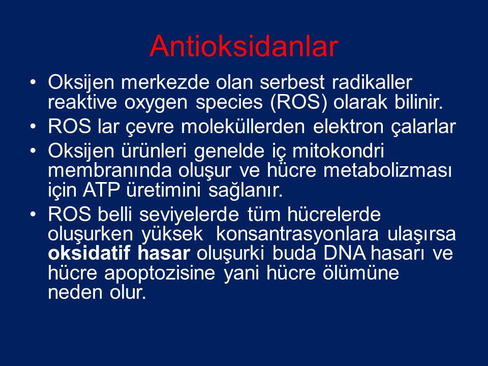 Antioksidanlar •Oksijen merkezde olan serbest radikaller reaktive oxygen species (ROS) olarak bilinir. •ROS lar çevre moleküllerden elektron çalarlar