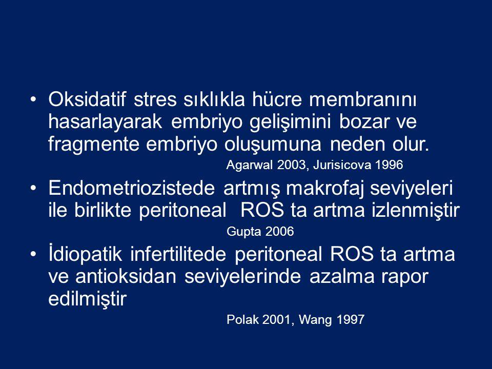•Oksidatif stres sıklıkla hücre membranını hasarlayarak embriyo gelişimini bozar ve fragmente embriyo oluşumuna neden olur. Agarwal 2003, Jurisicova 1