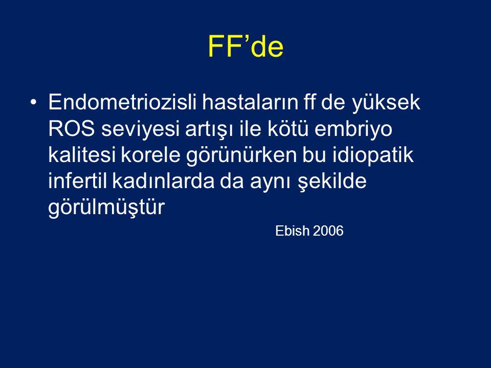 FF'de •Endometriozisli hastaların ff de yüksek ROS seviyesi artışı ile kötü embriyo kalitesi korele görünürken bu idiopatik infertil kadınlarda da aynı şekilde görülmüştür Ebish 2006