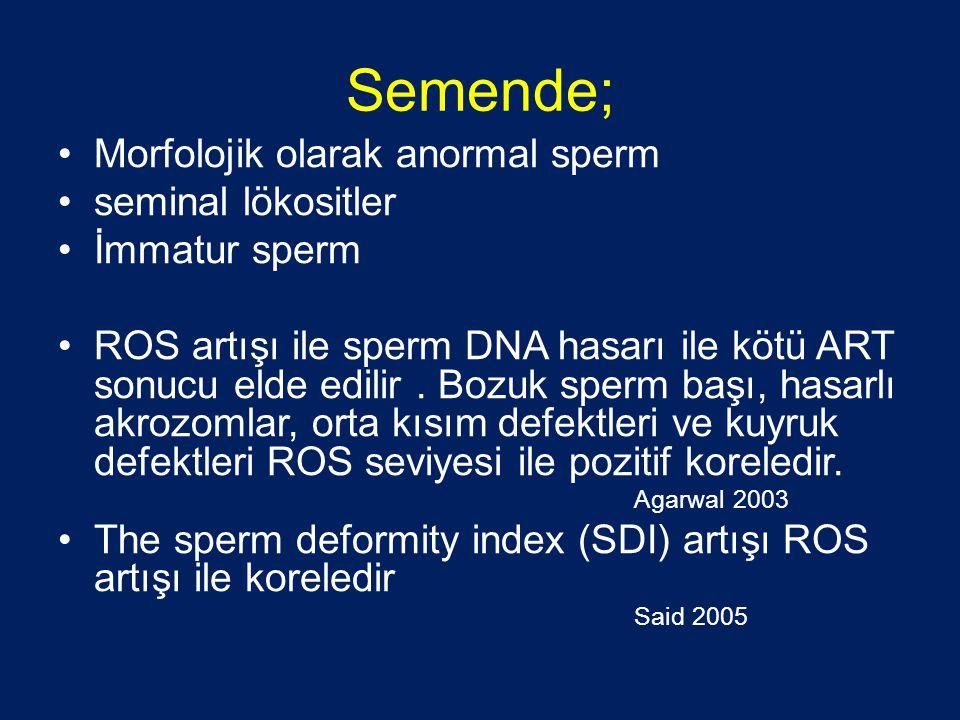 Semende; •Morfolojik olarak anormal sperm •seminal lökositler •İmmatur sperm •ROS artışı ile sperm DNA hasarı ile kötü ART sonucu elde edilir.
