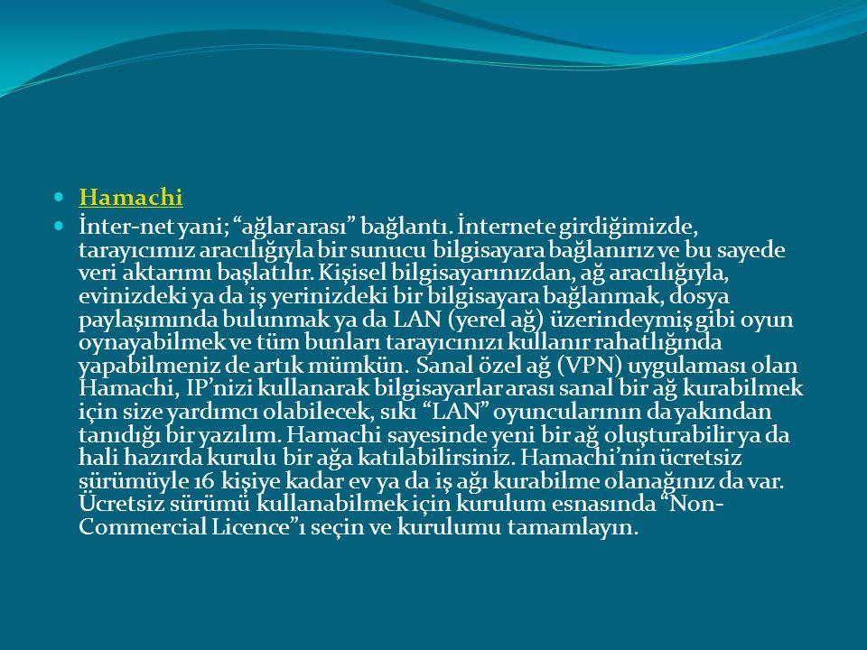 """ Hamachi Hamachi  İnter-net yani; """"ağlar arası"""" bağlantı. İnternete girdiğimizde, tarayıcımız aracılığıyla bir sunucu bilgisayara bağlanırız ve bu s"""
