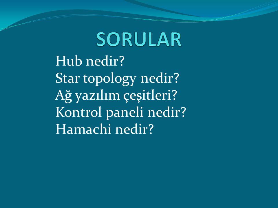 Hub nedir? Star topology nedir? Ağ yazılım çeşitleri? Kontrol paneli nedir? Hamachi nedir?