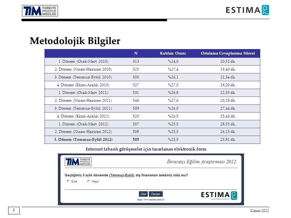 Kasım 2012 3 NKatılım OranıOrtalama Cevaplanma Süresi 1. Dönem (Ocak-Mart 2010)313%24,020,52 dk. 2. Dönem (Nisan-Haziran 2010)525%27,419,40 dk. 3. Dön