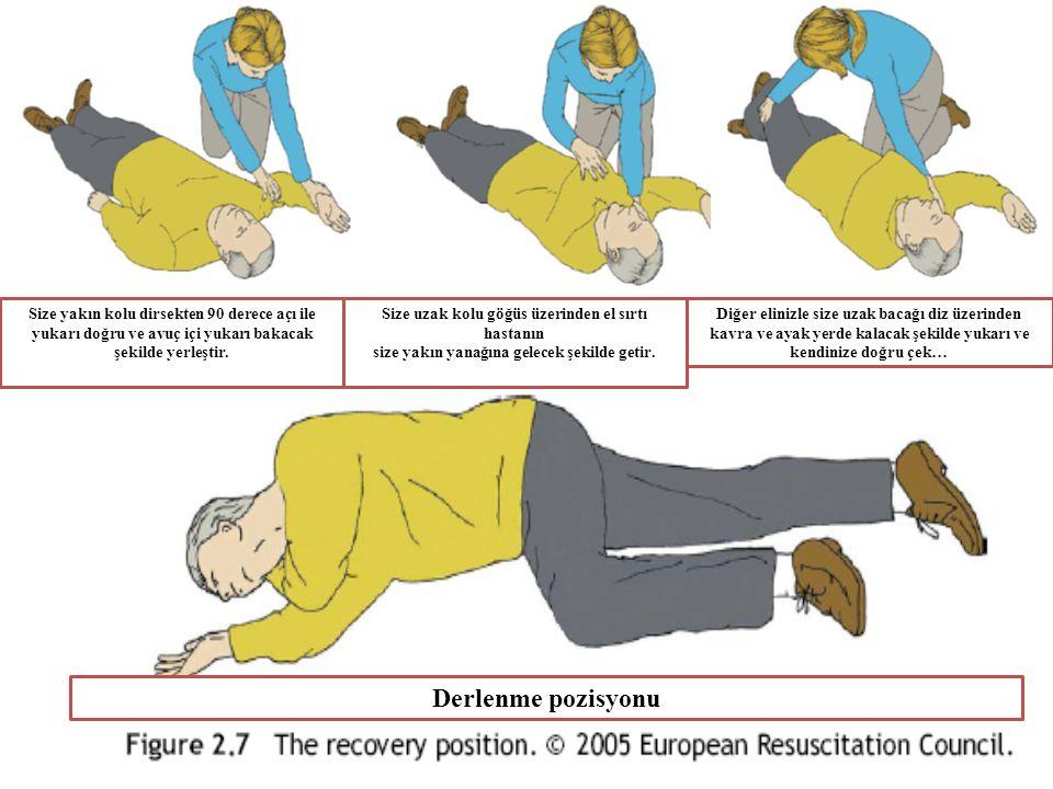 Size yakın kolu dirsekten 90 derece açı ile yukarı doğru ve avuç içi yukarı bakacak şekilde yerleştir. Size uzak kolu göğüs üzerinden el sırtı hastanı