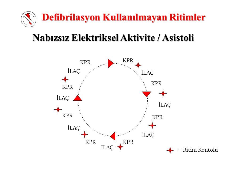 Nabızsız Elektriksel Aktivite / Asistoli = Ritim Kontolü KPR İLAÇ KPR İLAÇ Defibrilasyon Kullanılmayan Ritimler
