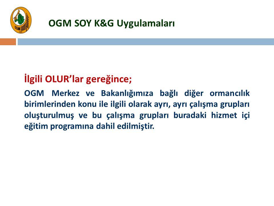 İlgili OLUR'lar gereğince; OGM Merkez ve Bakanlığımıza bağlı diğer ormancılık birimlerinden konu ile ilgili olarak ayrı, ayrı çalışma grupları oluştur