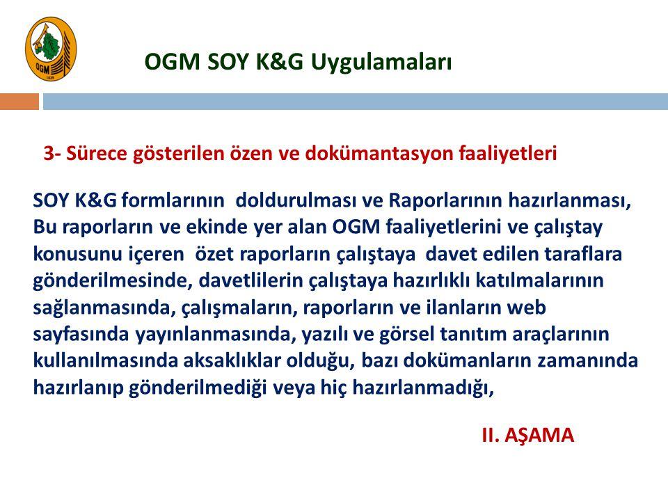 SOY K&G formlarının doldurulması ve Raporlarının hazırlanması, Bu raporların ve ekinde yer alan OGM faaliyetlerini ve çalıştay konusunu içeren özet ra