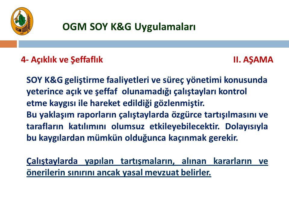 SOY K&G geliştirme faaliyetleri ve süreç yönetimi konusunda yeterince açık ve şeffaf olunamadığı çalıştayları kontrol etme kaygısı ile hareket edildiğ