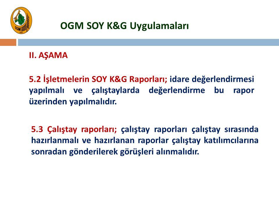 5.2 İşletmelerin SOY K&G Raporları; idare değerlendirmesi yapılmalı ve çalıştaylarda değerlendirme bu rapor üzerinden yapılmalıdır. 5.3 Çalıştay rapor