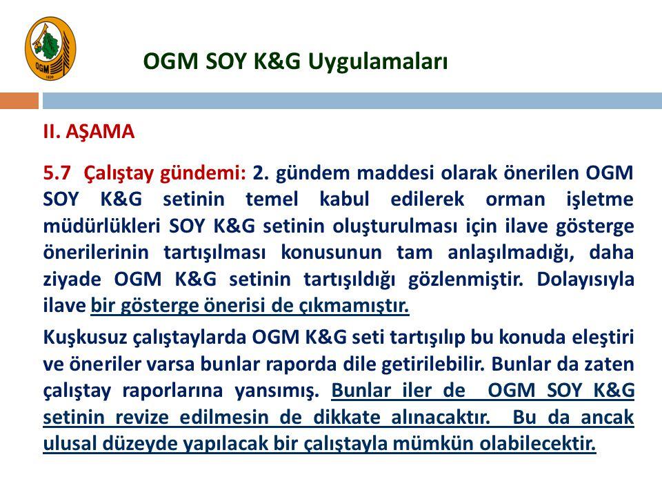 5.7 Çalıştay gündemi: 2. gündem maddesi olarak önerilen OGM SOY K&G setinin temel kabul edilerek orman işletme müdürlükleri SOY K&G setinin oluşturulm