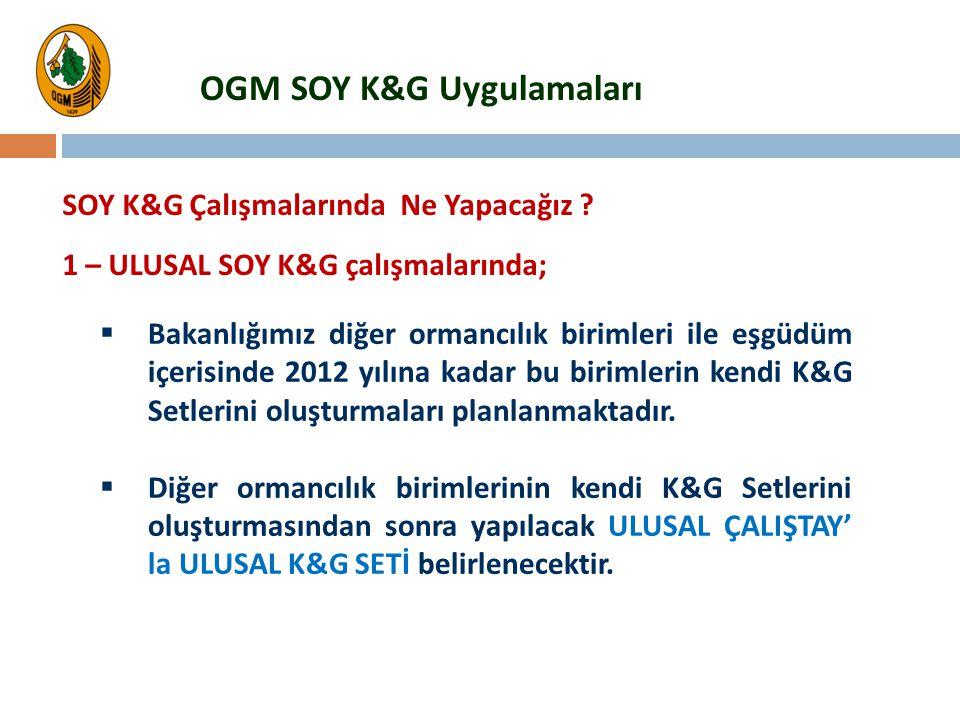  Bakanlığımız diğer ormancılık birimleri ile eşgüdüm içerisinde 2012 yılına kadar bu birimlerin kendi K&G Setlerini oluşturmaları planlanmaktadır. 