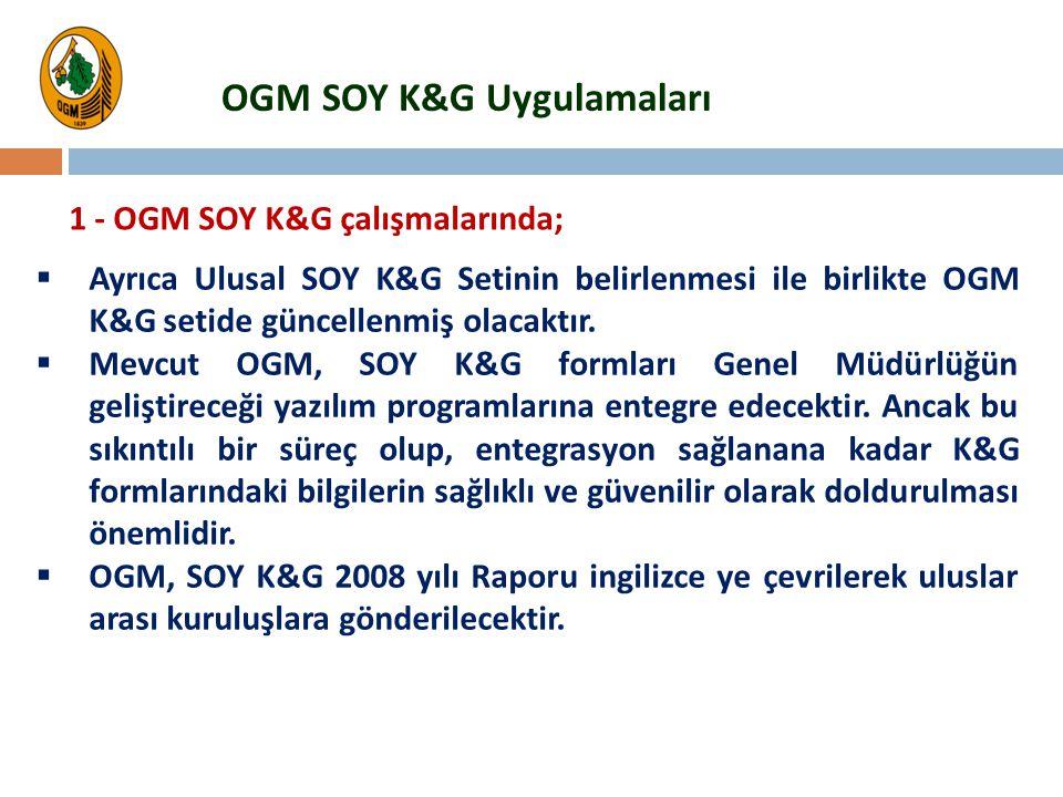  Ayrıca Ulusal SOY K&G Setinin belirlenmesi ile birlikte OGM K&G setide güncellenmiş olacaktır.  Mevcut OGM, SOY K&G formları Genel Müdürlüğün geliş