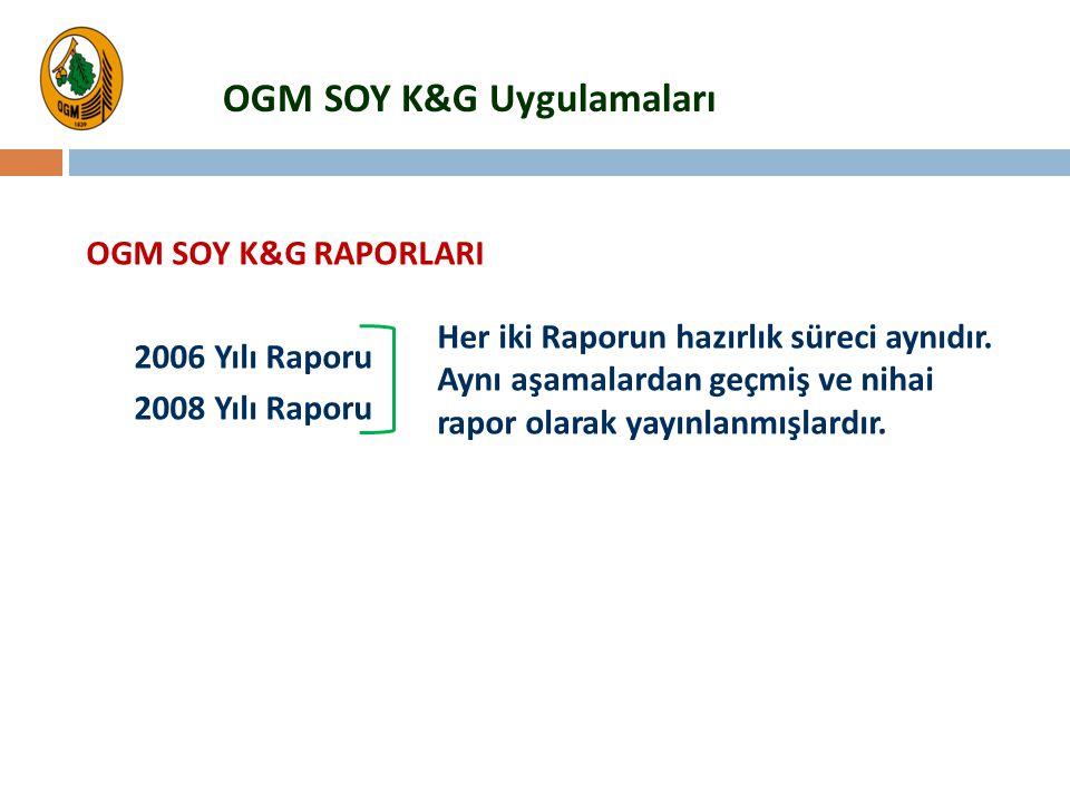 OGM SOY K&G Uygulamaları OGM SOY K&G RAPORLARI 2006 Yılı Raporu 2008 Yılı Raporu Her iki Raporun hazırlık süreci aynıdır. Aynı aşamalardan geçmiş ve n