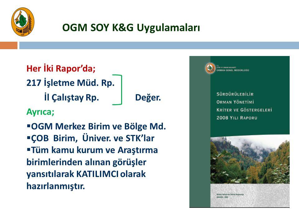 OGM SOY K&G Uygulamaları Her İki Rapor'da; 217 İşletme Müd. Rp. İl Çalıştay Rp. Değer. Ayrıca;  OGM Merkez Birim ve Bölge Md.  ÇOB Birim, Üniver. ve