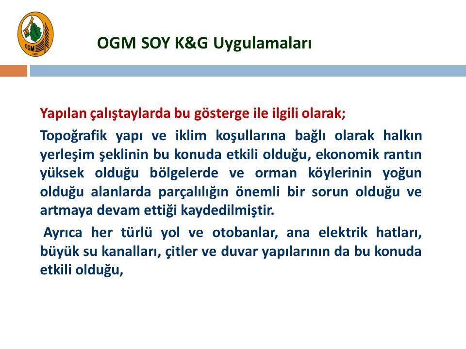 OGM SOY K&G Uygulamaları Yapılan çalıştaylarda bu gösterge ile ilgili olarak; Topoğrafik yapı ve iklim koşullarına bağlı olarak halkın yerleşim şeklin