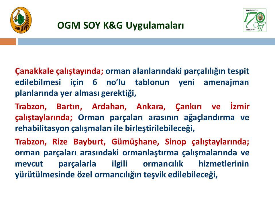 OGM SOY K&G Uygulamaları Çanakkale çalıştayında; orman alanlarındaki parçalılığın tespit edilebilmesi için 6 no'lu tablonun yeni amenajman planlarında