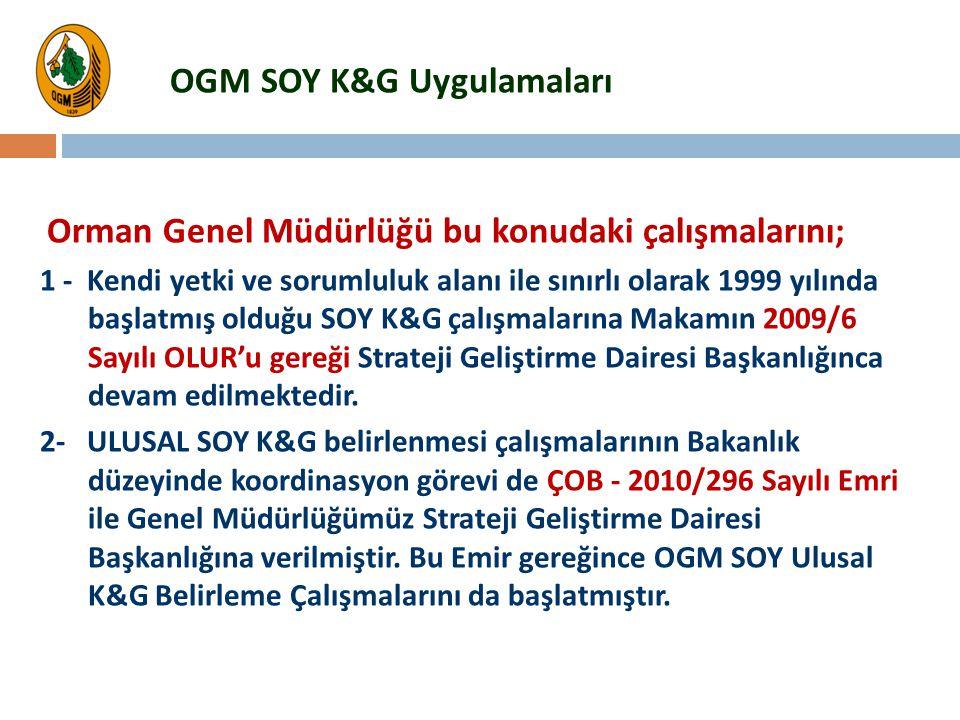 Orman Genel Müdürlüğü bu konudaki çalışmalarını; 1 - Kendi yetki ve sorumluluk alanı ile sınırlı olarak 1999 yılında başlatmış olduğu SOY K&G çalışmal