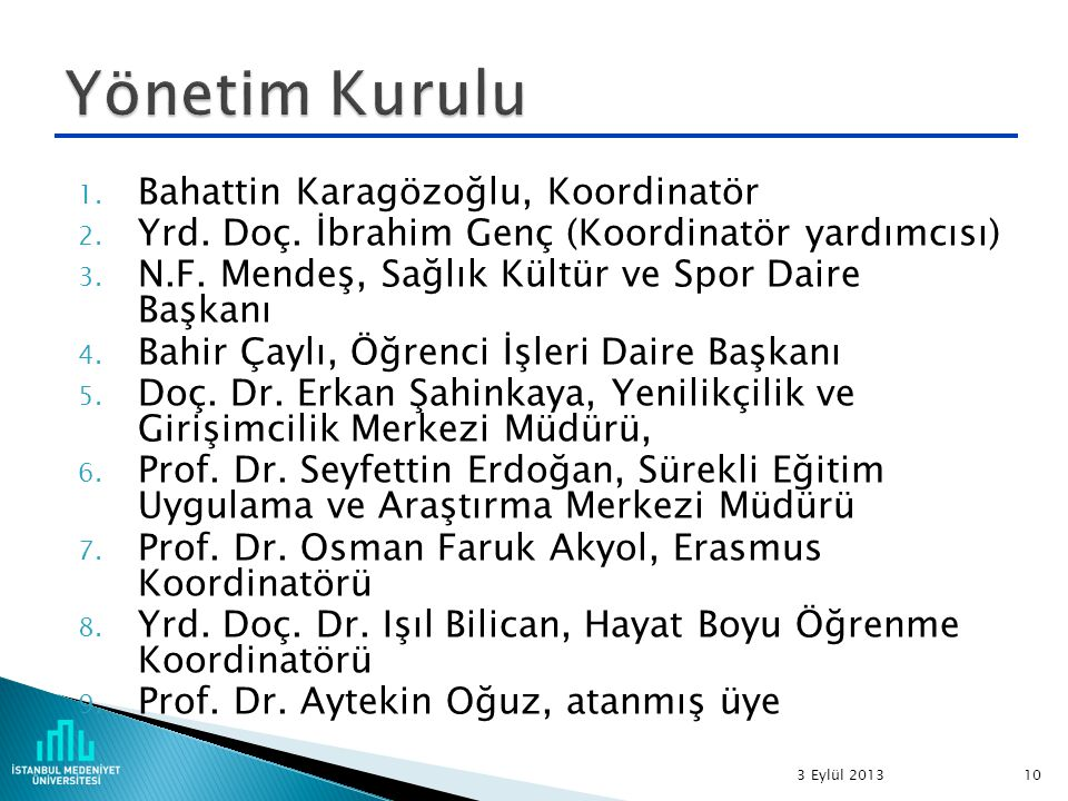 1. Bahattin Karagözoğlu, Koordinatör 2. Yrd. Doç.