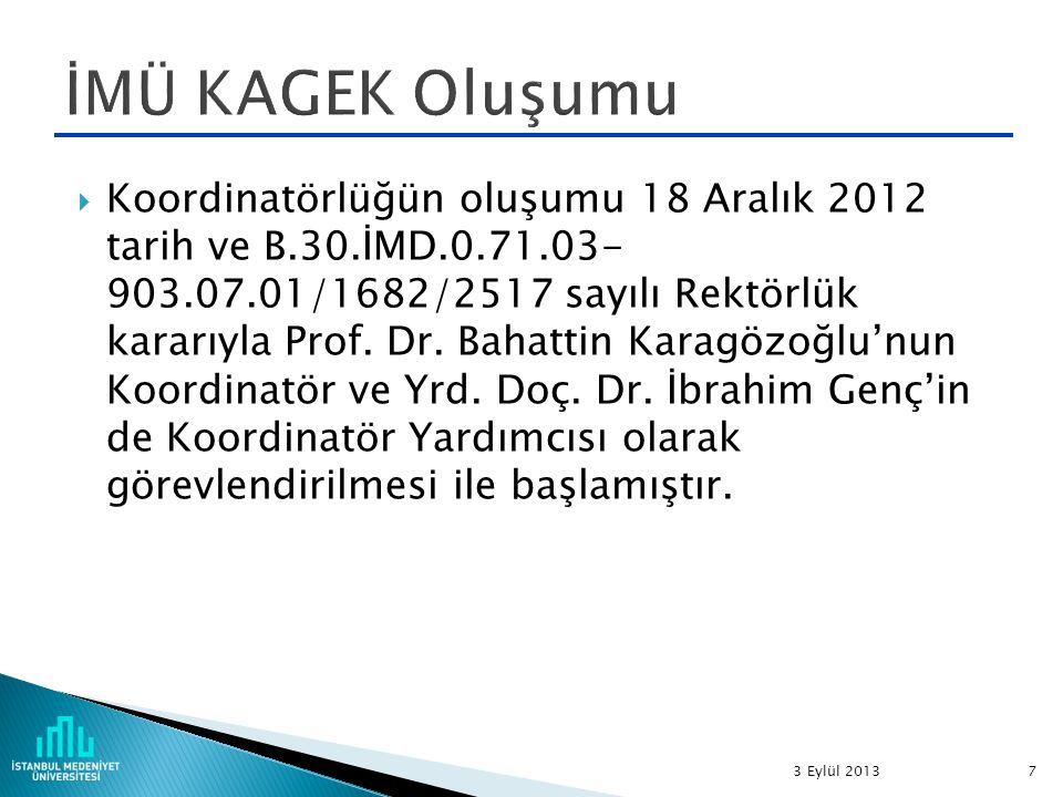  Koordinatörlüğün oluşumu 18 Aralık 2012 tarih ve B.30.İMD.0.71.03- 903.07.01/1682/2517 sayılı Rektörlük kararıyla Prof.