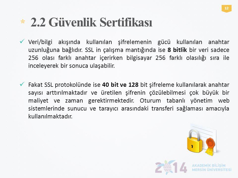 * 2.2 Güvenlik Sertifikası 1212  Veri/bilgi akışında kullanılan şifrelemenin gücü kullanılan anahtar uzunluğuna bağlıdır. SSL in çalışma mantığında i