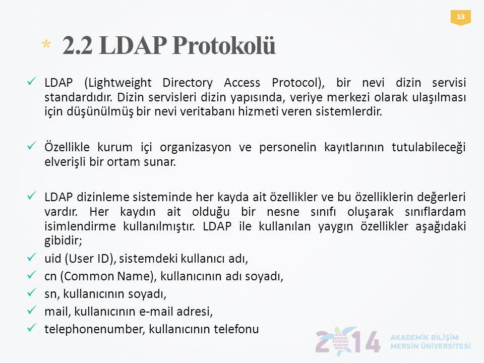 * 2.2 LDAP Protokolü 1313  LDAP (Lightweight Directory Access Protocol), bir nevi dizin servisi standardıdır. Dizin servisleri dizin yapısında, veriy