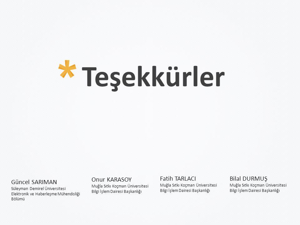 Teşekkürler Güncel SARIMAN Süleyman Demirel Üniversitesi Elektronik ve Haberleşme Mühendisliği Bölümü Fatih TARLACI Muğla Sıtkı Koçman Üniversitesi Bi