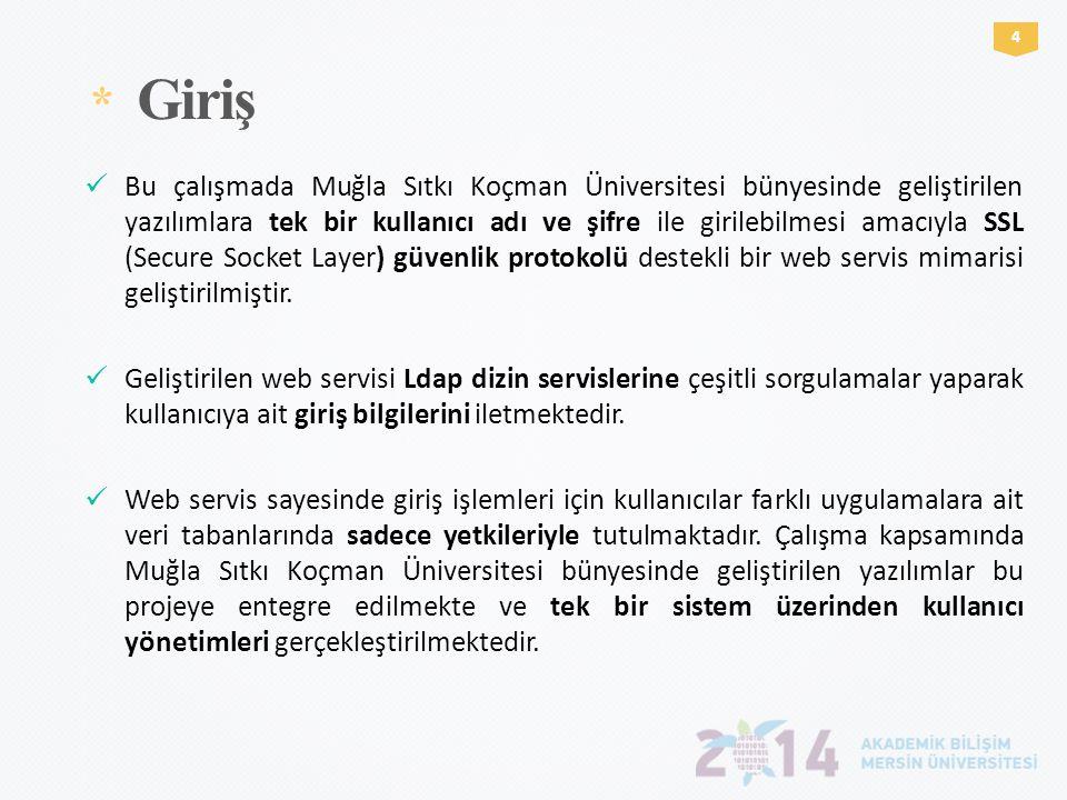 * Giriş 4  Bu çalışmada Muğla Sıtkı Koçman Üniversitesi bünyesinde geliştirilen yazılımlara tek bir kullanıcı adı ve şifre ile girilebilmesi amacıyla