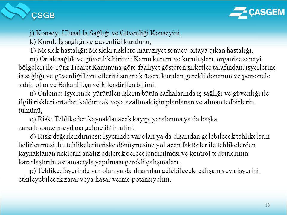 18 j) Konsey: Ulusal İş Sağlığı ve Güvenliği Konseyini, k) Kurul: İş sağlığı ve güvenliği kurulunu, 1) Meslek hastalığı: Mesleki risklere maruziyet sonucu ortaya çıkan hastalığı, m) Ortak sağlık ve güvenlik birimi: Kamu kurum ve kuruluşları, organize sanayi bölgeleri ile Türk Ticaret Kanununa göre faaliyet gösteren şirketler tarafından, işyerlerine iş sağlığı ve güvenliği hizmetlerini sunmak üzere kurulan gerekli donanım ve personele sahip olan ve Bakanlıkça yetkilendirilen birimi, n) Önleme: İşyerinde yürütülen işlerin bütün safhalarında iş sağlığı ve güvenliği ile ilgili riskleri ortadan kaldırmak veya azaltmak için planlanan ve alınan tedbirlerin tümünü, o) Risk: Tehlikeden kaynaklanacak kayıp, yaralanma ya da başka zararlı sonuç meydana gelme ihtimalini, ö) Risk değerlendirmesi: İşyerinde var olan ya da dışarıdan gelebilecek tehlikelerin belirlenmesi, bu tehlikelerin riske dönüşmesine yol açan faktörler ile tehlikelerden kaynaklanan risklerin analiz edilerek derecelendirilmesi ve kontrol tedbirlerinin kararlaştırılması amacıyla yapılması gerekli çalışmaları, p) Tehlike: İşyerinde var olan ya da dışarıdan gelebilecek, çalışanı veya işyerini etkileyebilecek zarar veya hasar verme potansiyelini,