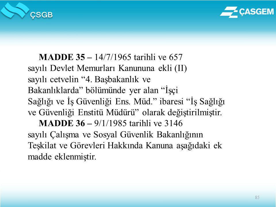 85 MADDE 35 – 14/7/1965 tarihli ve 657 sayılı Devlet Memurları Kanununa ekli (II) sayılı cetvelin 4.