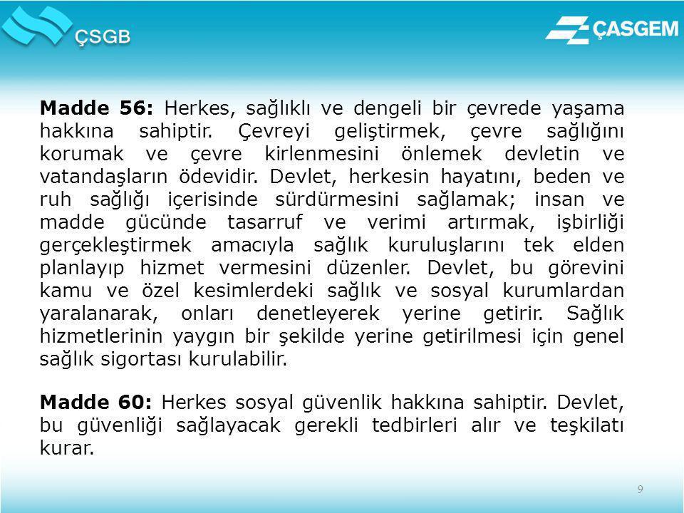 9 Madde 56: Herkes, sağlıklı ve dengeli bir çevrede yaşama hakkına sahiptir.