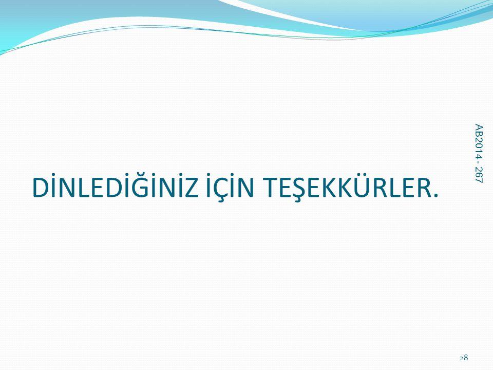DİNLEDİĞİNİZ İÇİN TEŞEKKÜRLER. AB2014 - 267 28