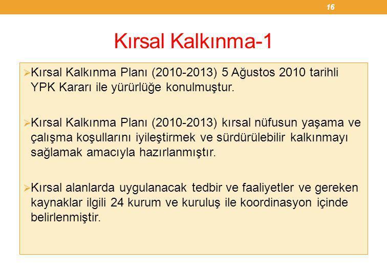 Kırsal Kalkınma-1  Kırsal Kalkınma Planı (2010-2013) 5 Ağustos 2010 tarihli YPK Kararı ile yürürlüğe konulmuştur.  Kırsal Kalkınma Planı (2010-2013)