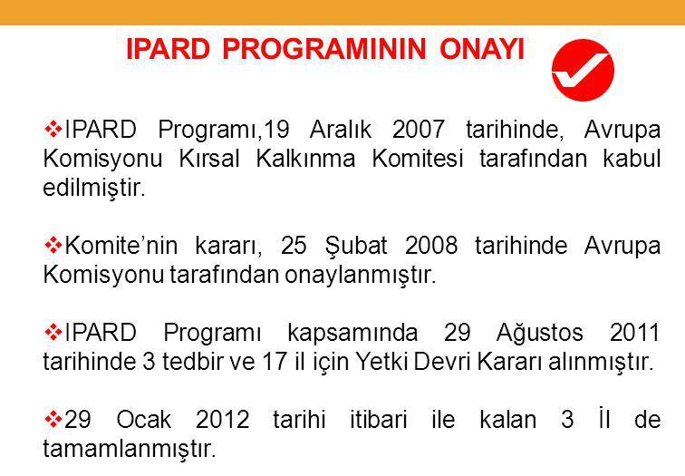 IPARD PROGRAMININ ONAYI  IPARD Programı,19 Aralık 2007 tarihinde, Avrupa Komisyonu Kırsal Kalkınma Komitesi tarafından kabul edilmiştir.
