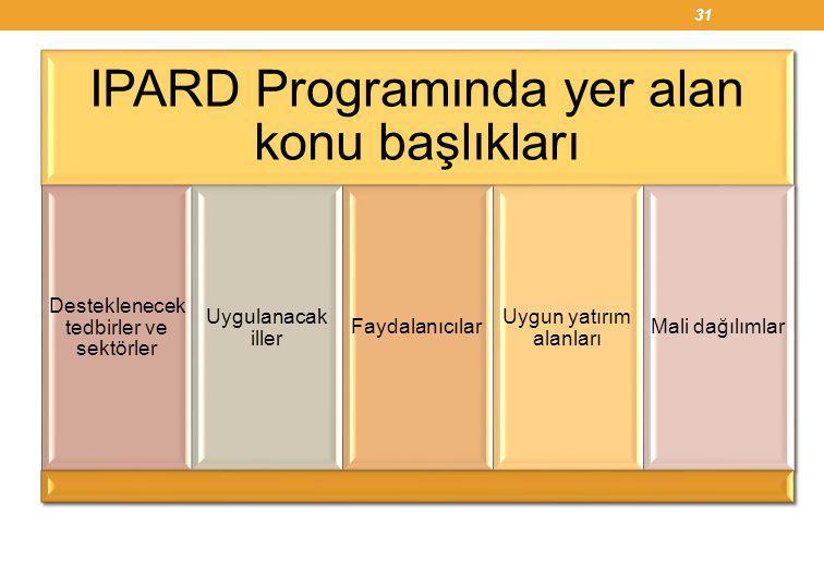 31 IPARD Programında yer alan konu başlıkları Desteklenecek tedbirler ve sektörler Uygulanacak iller Faydalanıcılar Uygun yatırım alanları Mali dağılı