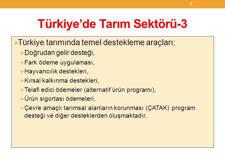 Türkiye'de Tarım Sektörü-4  2011 yılında; 106 milyon ton tarla ürünü, 35 milyon ton hububat, 1.1 milyon ton baklagil, 23.5 milyon ton endüstriyel bitki, 4.1 milyon ton yağlı tohum üretilmiştir.