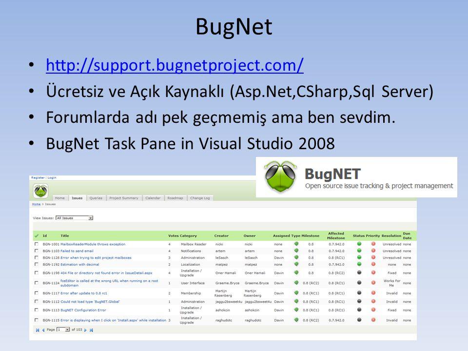 BugNet • http://support.bugnetproject.com/ http://support.bugnetproject.com/ • Ücretsiz ve Açık Kaynaklı (Asp.Net,CSharp,Sql Server) • Forumlarda adı pek geçmemiş ama ben sevdim.