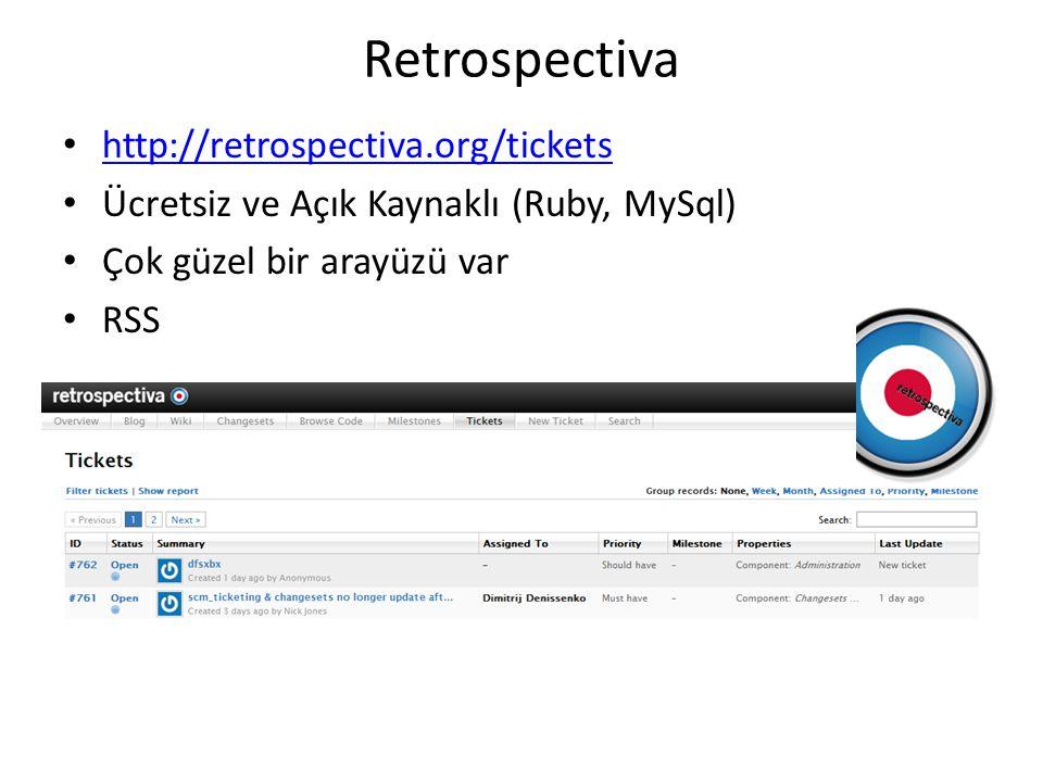 Retrospectiva • http://retrospectiva.org/tickets http://retrospectiva.org/tickets • Ücretsiz ve Açık Kaynaklı (Ruby, MySql) • Çok güzel bir arayüzü var • RSS