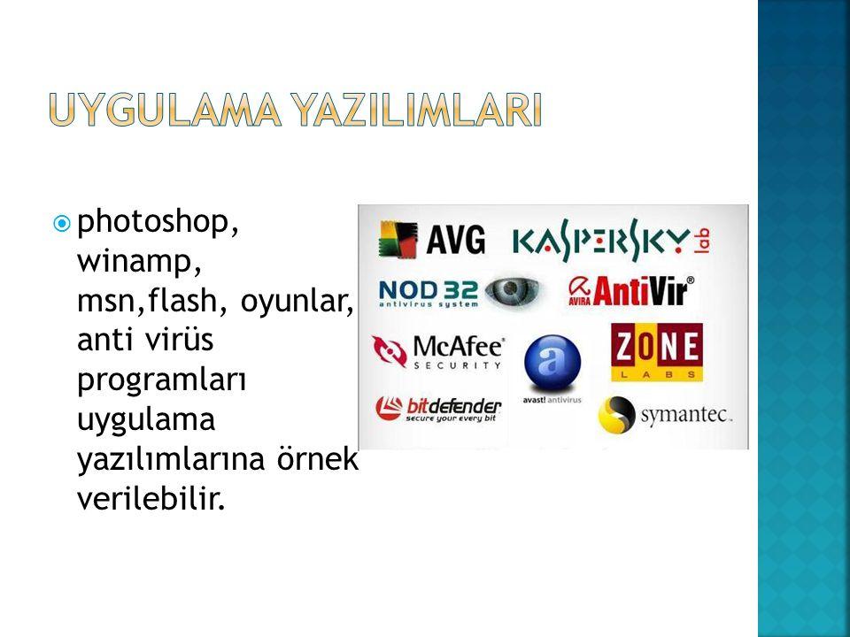 photoshop, winamp, msn,flash, oyunlar, anti virüs programları uygulama yazılımlarına örnek verilebilir.